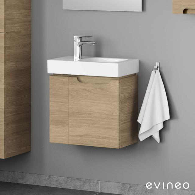 Evineo ineo5 Handwaschbeckenunterschrank mit 2 Türen, mit Griffmulde Front eiche / Korpus eiche