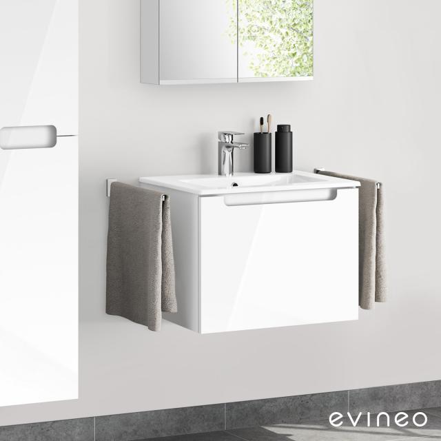 Evineo ineo5 Waschtisch mit Waschtischunterschrank mit 1 Auszug, mit Griffmulde Front weiß hochglanz / Korpus weiß hochglanz