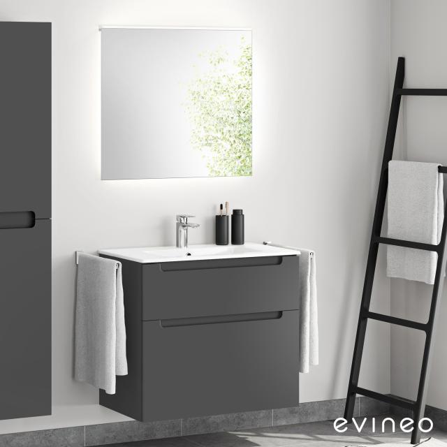 Evineo ineo5 Waschtisch mit Waschtischunterschrank mit Griffmulde, mit LED-Spiegel Front anthrazit matt/verspiegelt / Korpus anthrazit matt