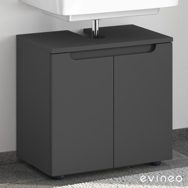 Evineo ineo5 Waschtischunterschrank ohne Waschtischanbindung mit 2 Türen, mit Griffmulde Front anthrazit matt / Korpus anthrazit matt