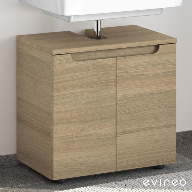 Evineo ineo5 Waschtischunterschrank ohne Waschtischanbindung mit 2 Türen, mit Griffmulde Front eiche / Korpus eiche