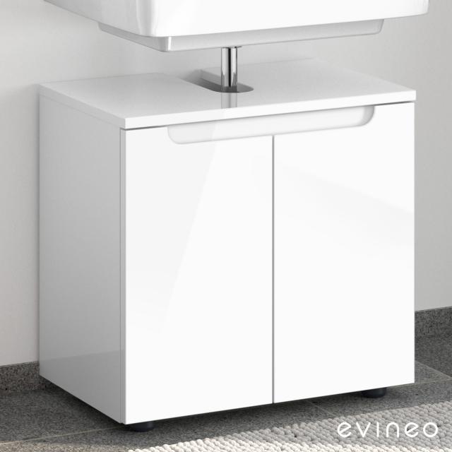 Evineo ineo5 Waschtischunterschrank ohne Waschtischanbindung mit 2 Türen, mit Griffmulde Front weiß hochglanz / Korpus weiß hochglanz