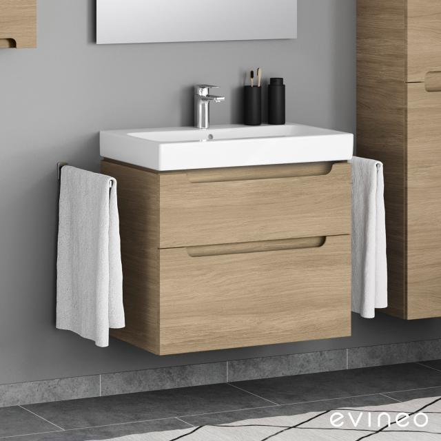 Evineo ineo5 Waschtischunterschrank mit 2 Auszügen, mit Griffmulde Front eiche / Korpus eiche