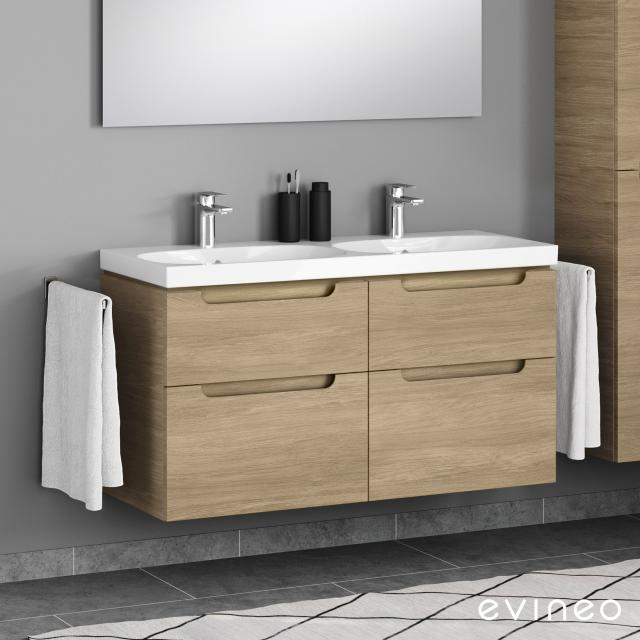 Geberit Acanto Doppelwaschtisch mit Evineo ineo5 Waschtischunterschrank mit 4 Auszügen, mit Griffmulde Front eiche / Korpus eiche, WT weiß, mit 2 Hahnlöchern