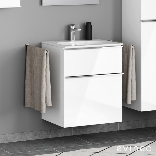 Geberit Acanto Slim Waschtisch mit Evineo ineo4 Waschtischunterschrank mit 2 Auszügen, mit Griff Front weiß hochglanz / Korpus weiß hochglanz, WT weiß, mit 1 Hahnloch