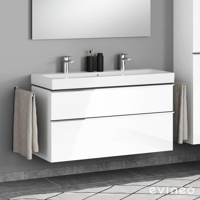 Geberit iCon Doppelwaschtisch mit Evineo ineo4 Waschtischunterschrank mit 2 Auszügen, mit Griff Front weiß hochglanz / Korpus weiß hochglanz, WT weiß, mit 2 Hahnlöchern