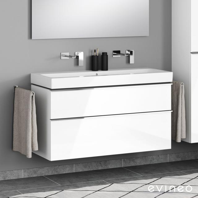 Geberit iCon Doppelwaschtisch mit Evineo ineo4 Waschtischunterschrank mit 2 Auszügen, mit Griff Front weiß hochglanz / Korpus weiß hochglanz, WT weiß, ohne Hahnloch