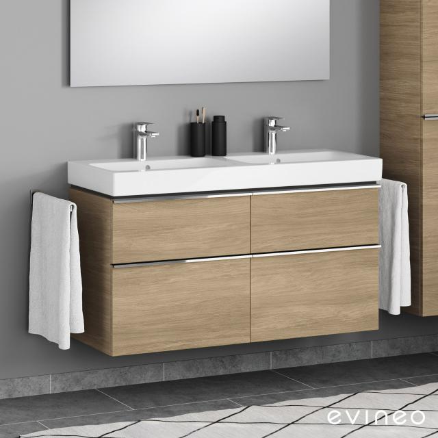 Geberit iCon Doppelwaschtisch mit Evineo ineo4 Waschtischunterschrank mit 4 Auszügen, mit Griff Front eiche / Korpus eiche, WT weiß, mit Keratect