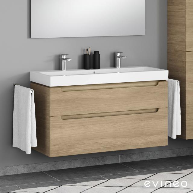 Geberit iCon Doppelwaschtisch mit Evineo ineo5 Waschtischunterschrank mit 2 Auszügen, mit Griffmulde Front eiche / Korpus eiche, WT weiß, mit 2 Hahnlöchern