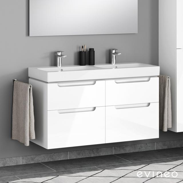 Geberit iCon Doppelwaschtisch mit Evineo ineo5 Waschtischunterschrank mit 4 Auszügen, mit Griffmulde Front weiß hochglanz / Korpus weiß hochglanz, WT weiß