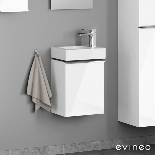 Geberit iCon Handwaschbecken mit Evineo ineo4 Waschtischunterschrank mit 1 Tür, mit Griff Front weiß hochglanz / Korpus weiß hochglanz, WT weiß
