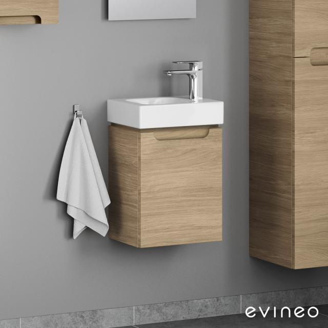 Geberit iCon Handwaschbecken mit Evineo ineo5 Waschtischunterschrank mit 1 Tür, mit Griffmulde Front eiche / Korpus eiche, WT weiß