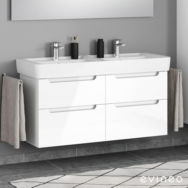 Geberit Renova Plan Doppelwaschtisch mit Evineo ineo5 Waschtischunterschrank mit 4 Auszügen, mit Griffmulde Front weiß hochglanz / Korpus weiß hochglanz, WT weiß, mit Keratect