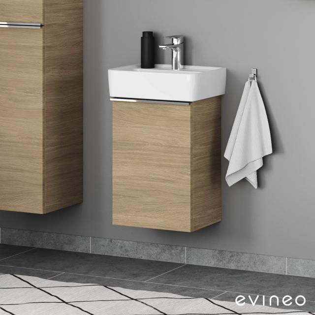 Geberit Renova Plan Handwaschbecken mit Evineo ineo4 Waschtischunterschrank mit 1 Tür, mit Griff Front eiche / Korpus eiche, WT weiß, mit KeraTect