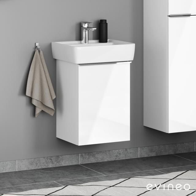Geberit Renova Plan Handwaschbecken mit Evineo ineo4 Waschtischunterschrank mit 1 Tür, mit Griff Front weiß hochglanz / Korpus weiß hochglanz, WT weiß