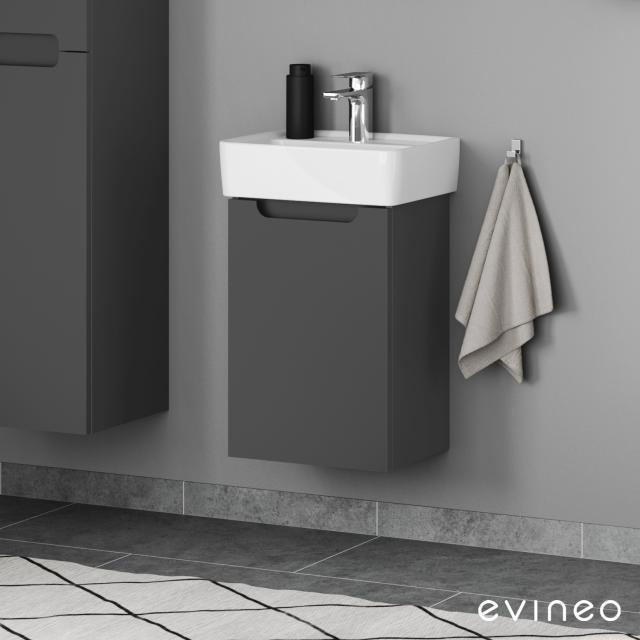 Geberit Renova Plan Handwaschbecken mit Evineo ineo5 Waschtischunterschrank mit 1 Tür, mit Griffmulde Front anthrazit matt / Korpus anthrazit matt, WT weiß