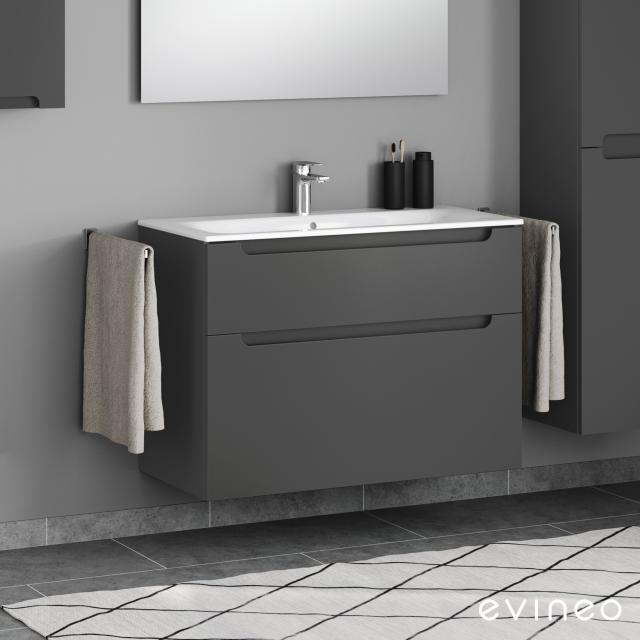 Geberit Renova Plan Slim Waschtisch mit Evineo ineo5 Waschtischunterschrank mit 2 Auszügen, mit Griffmulde Front anthrazit matt / Korpus anthrazit matt, WT weiß