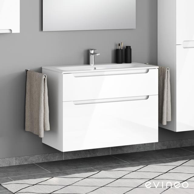 Geberit Renova Plan Slim Waschtisch mit Evineo ineo5 Waschtischunterschrank mit 2 Auszügen, mit Griffmulde Front weiß hochglanz / Korpus weiß hochglanz, WT weiß