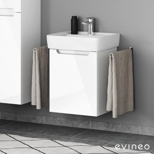 Geberit Renova Plan Waschtisch mit Evineo ineo5 Waschtischunterschrank mit 1 Tür, mit Griffmulde Front weiß hochglanz / Korpus weiß hochglanz, WT weiß, mit KeraTect