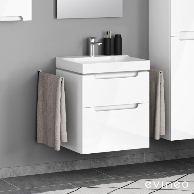 Geberit Xeno² Waschtisch mit Evineo ineo5 Waschtischunterschrank mit 2 Auszügen, mit Griffmulde Front weiß hochglanz / Korpus weiß hochglanz, WT weiß, mit KeraTect, mit 1 Hahnloch
