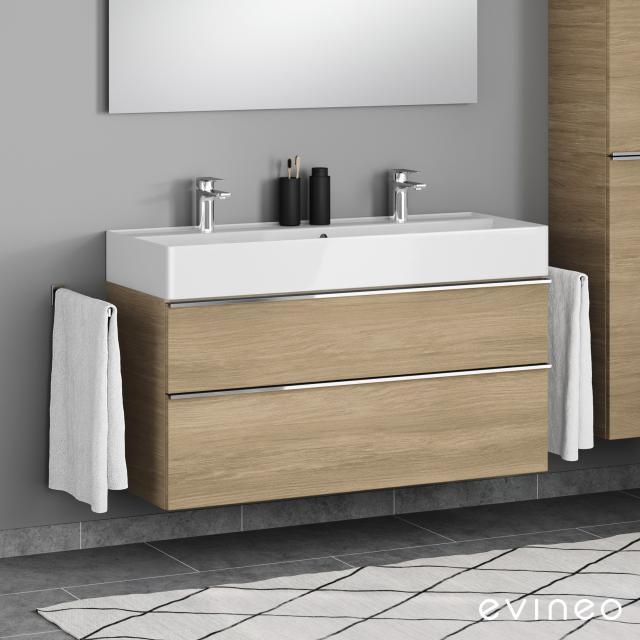 Scarabeo Teorema 2.0 Doppelwaschtisch mit Evineo ineo4 Waschtischunterschrank mit 2 Auszügen, mit Griff Front eiche / Korpus eiche, WT weiß, mit BIO System Beschichtung