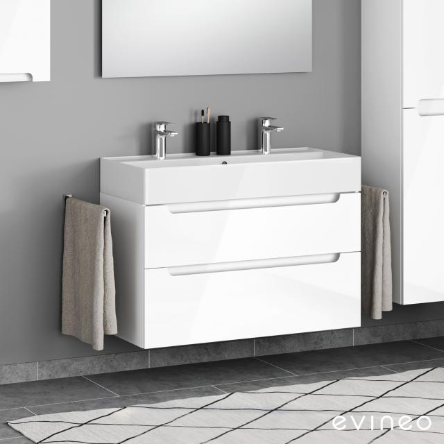 Scarabeo Teorema 2.0 Doppelwaschtisch mit Evineo ineo5 Waschtischunterschrank mit 2 Auszügen, mit Griffmulde Front weiß hochglanz / Korpus weiß hochglanz, WT weiß, mit BIO System Beschichtung