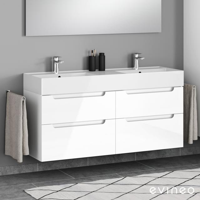 Scarabeo Teorema 2.0 Doppelwaschtisch mit Evineo ineo5 Waschtischunterschrank mit 4 Auszügen, mit Griffmulde Front weiß hochglanz / Korpus weiß hochglanz, WT weiß, mit BIO System Beschichtung