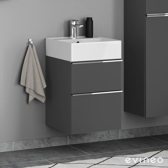 Scarabeo Teorema 2.0 Handwaschbecken mit Evineo ineo4 Waschtischunterschrank mit 2 Auszügen, mit Griff Front anthrazit matt / Korpus anthrazit matt, WT weiß