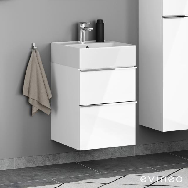 Scarabeo Teorema 2.0 Handwaschbecken mit Evineo ineo4 Waschtischunterschrank mit 2 Auszügen, mit Griff Front weiß hochglanz / Korpus weiß hochglanz, WT weiß