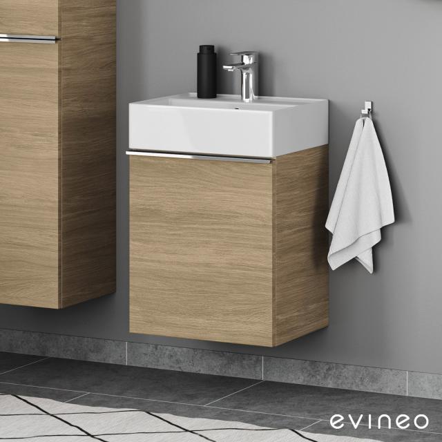 Scarabeo Teorema 2.0 Handwaschbecken mit Evineo ineo4 Waschtischunterschrank mit 1 Tür, mit Griff Front eiche / Korpus eiche, WT weiß, mit BIO System Beschichtung