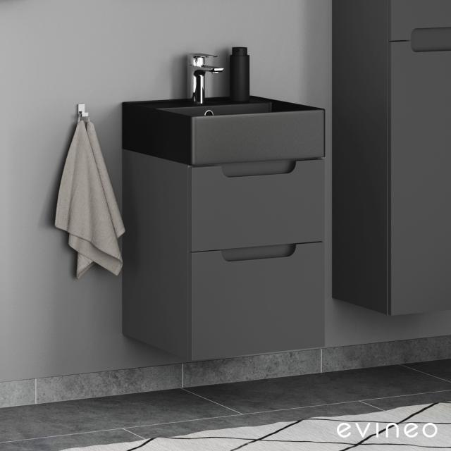 Scarabeo Teorema 2.0 Handwaschbecken mit Evineo ineo5 Waschtischunterschrank mit 2 Auszügen, mit Griffmulde Front anthrazit matt / Korpus anthrazit matt, WT schwarz matt, mit BIO System Beschichtung