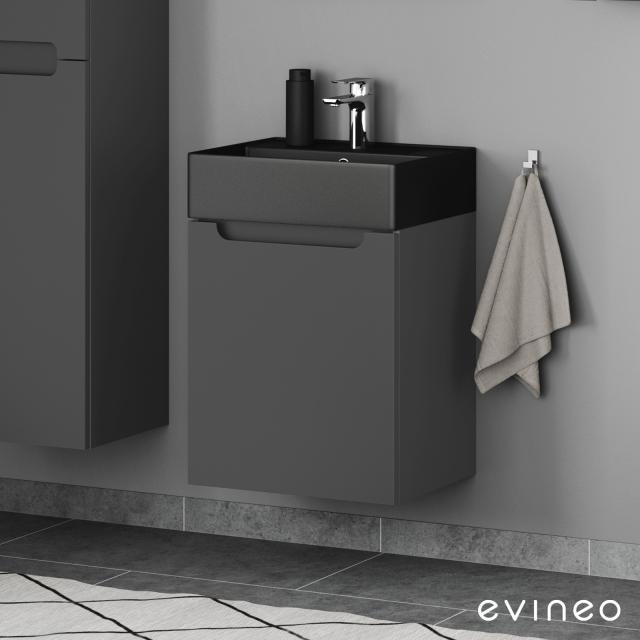 Scarabeo Teorema 2.0 Handwaschbecken mit Evineo ineo5 Waschtischunterschrank mit 1 Tür, mit Griffmulde Front anthrazit matt / Korpus anthrazit matt, WT schwarz matt, mit BIO System Beschichtung