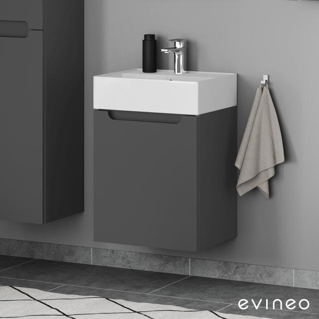Scarabeo Teorema 2.0 Handwaschbecken mit Evineo ineo5 Waschtischunterschrank mit 1 Tür, mit Griffmulde Front anthrazit matt / Korpus anthrazit matt, WT weiß matt, mit BIO System Beschichtung