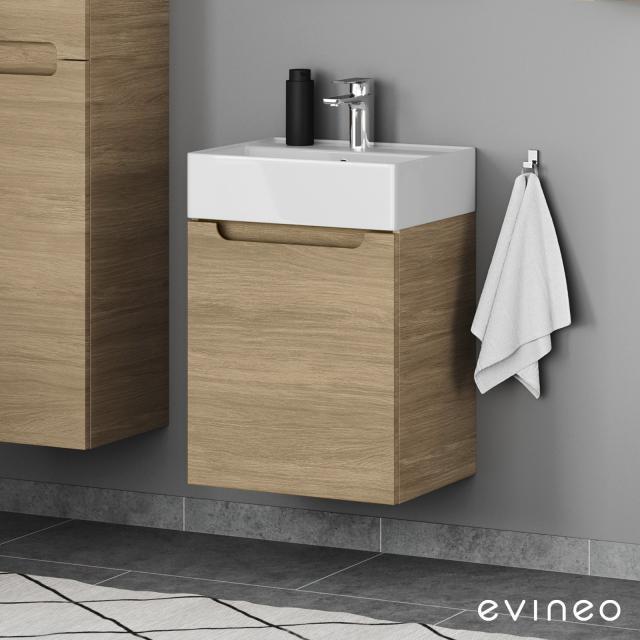 Scarabeo Teorema 2.0 Handwaschbecken mit Evineo ineo5 Waschtischunterschrank mit 1 Tür, mit Griffmulde Front eiche / Korpus eiche, WT weiß, mit BIO System Beschichtung