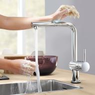 Grohe Minta Touch electronic single lever kitchen mixer, with L-shaped spout chrome