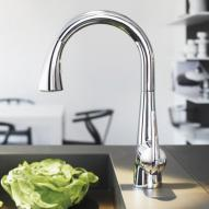 "Grohe Zedra single lever kitchen mixer, 1/2"" with pullout spray chrome"