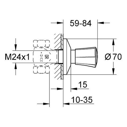 grohe costa up ventil oberbau 10 35 mm rot 19855001 reuter. Black Bedroom Furniture Sets. Home Design Ideas