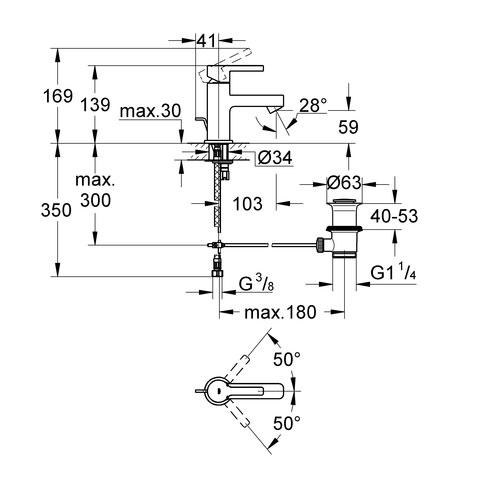 Grohe Lineare Einhand-Waschtischbatterie, XS-Size mit Ablaufgarnitur