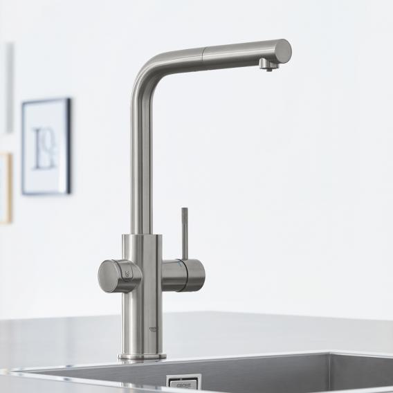 Grohe Blue Home die NEUE Küchenarmatur mit Filterfunktion, L-Auslauf ausziehbar supersteel
