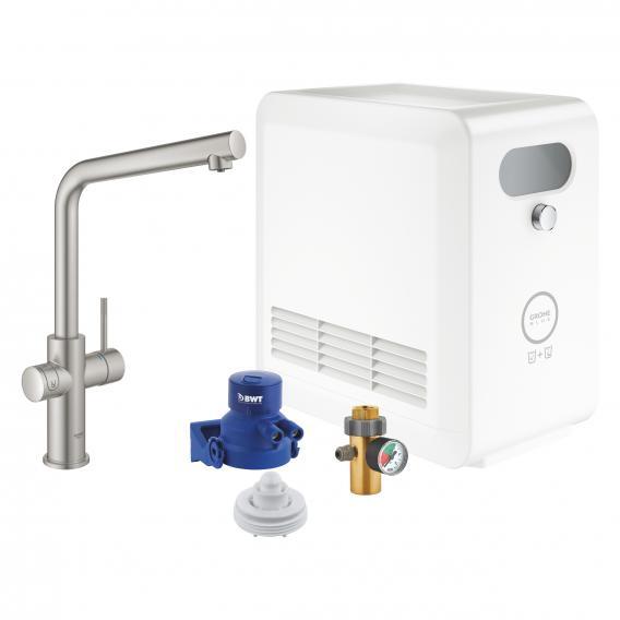 Grohe Blue Professional die NEUE Küchenarmatur mit Filterfunktion, L-Auslauf supersteel