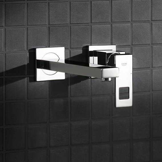 Grohe Eurocube 2-Loch-Waschtischbatterie, für Wandmontage Ausladung: 231 mm