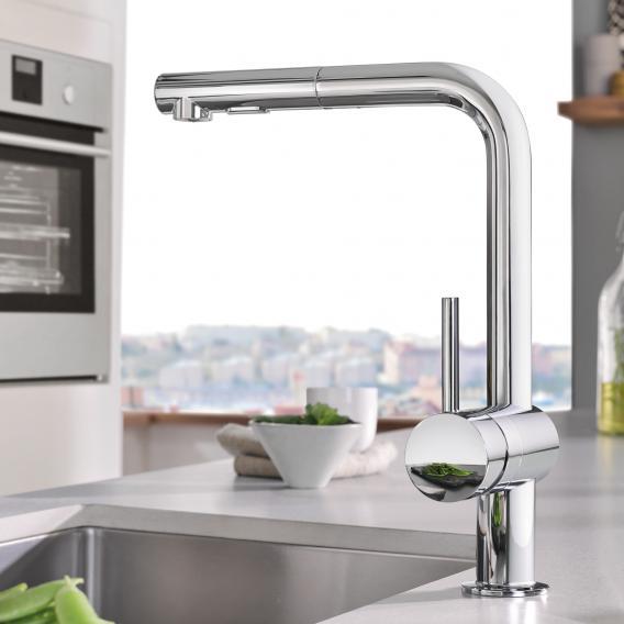 Grohe Minta Küchenarmatur mit ausziehbarer Dual-Spülbrause chrom