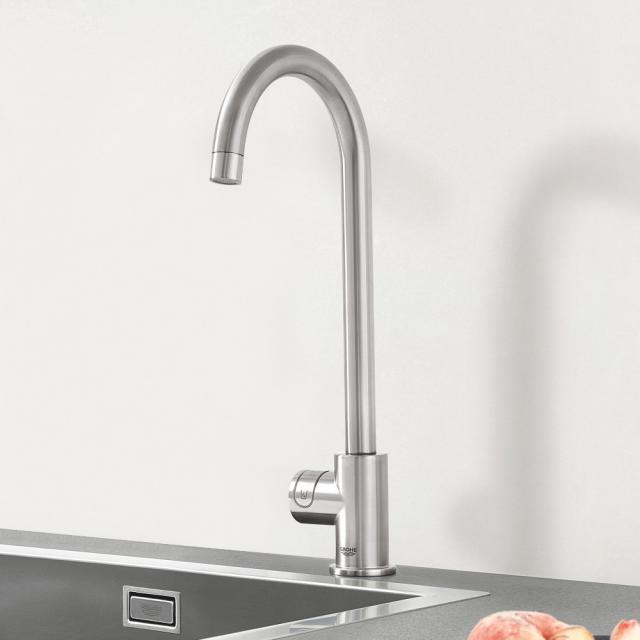 Grohe Blue Professional MONO die NEUE Küchenarmatur mit Filterfunktion, C-Auslauf supersteel