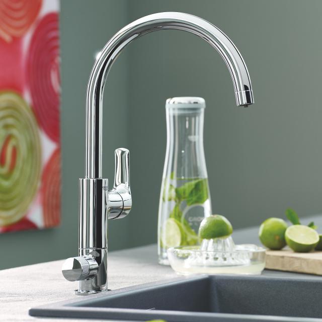 Grohe Blue Pure Eurosmart die NEUE Küchenarmatur mit Filterfunktion, C-Auslauf chrom