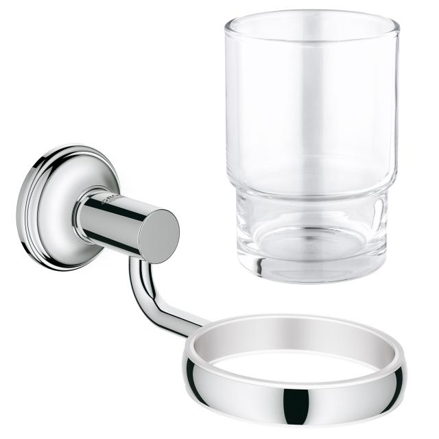 Grohe Essentials Authentic Bad-Set Halter mit Kristallglas chrom