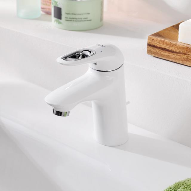 Grohe Eurostyle Einhand-Waschtischbatterie, S-Size mit Ablaufgarnitur, moon white