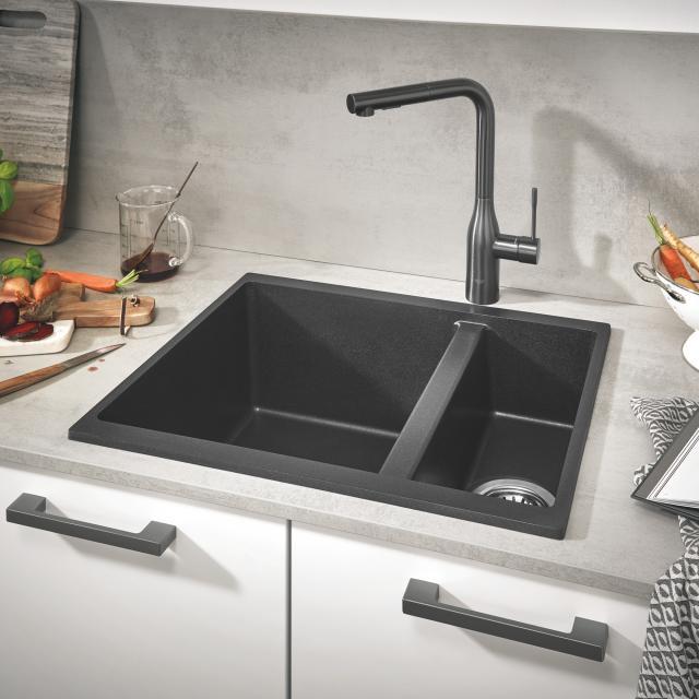 Grohe K500 drehbare Spüle granit schwarz