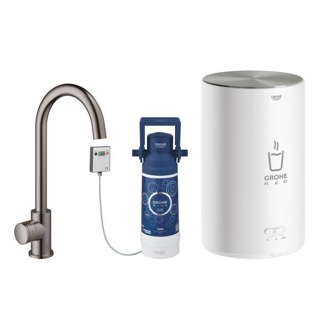 Grohe Red MONO die NEUE Küchenarmatur mit Filterfunktion für kochend heißes Wasser, C-Auslauf hard graphite