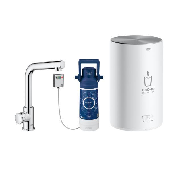 Grohe Red MONO die NEUE Küchenarmatur mit Filterfunktion für kochend heißes Wasser, L-Auslauf chrom