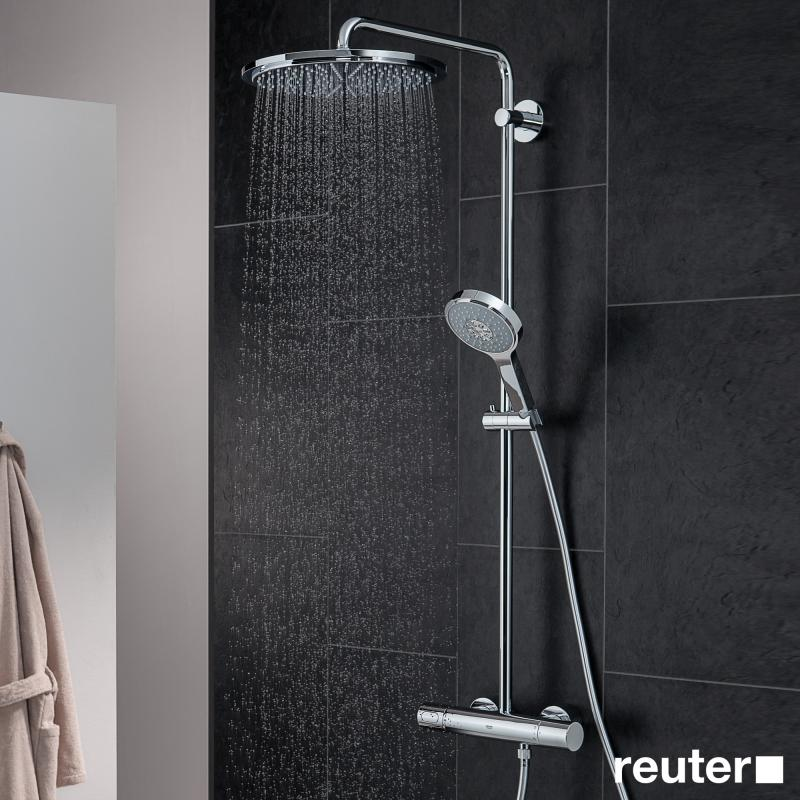 grohe rainshower system 310 duschsystem mit thermostatbatterie f r wandmontage 27968000 reuter. Black Bedroom Furniture Sets. Home Design Ideas